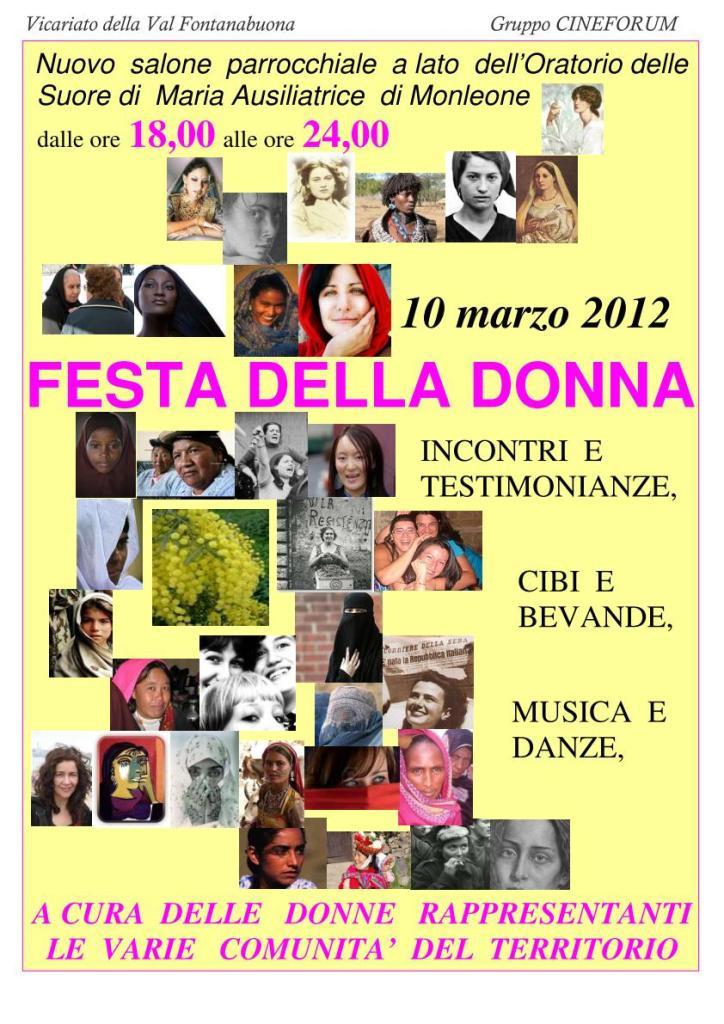 10 MArzo, Monleone di CIcagna: 'Festa della donna' interculturale, con canti e balli