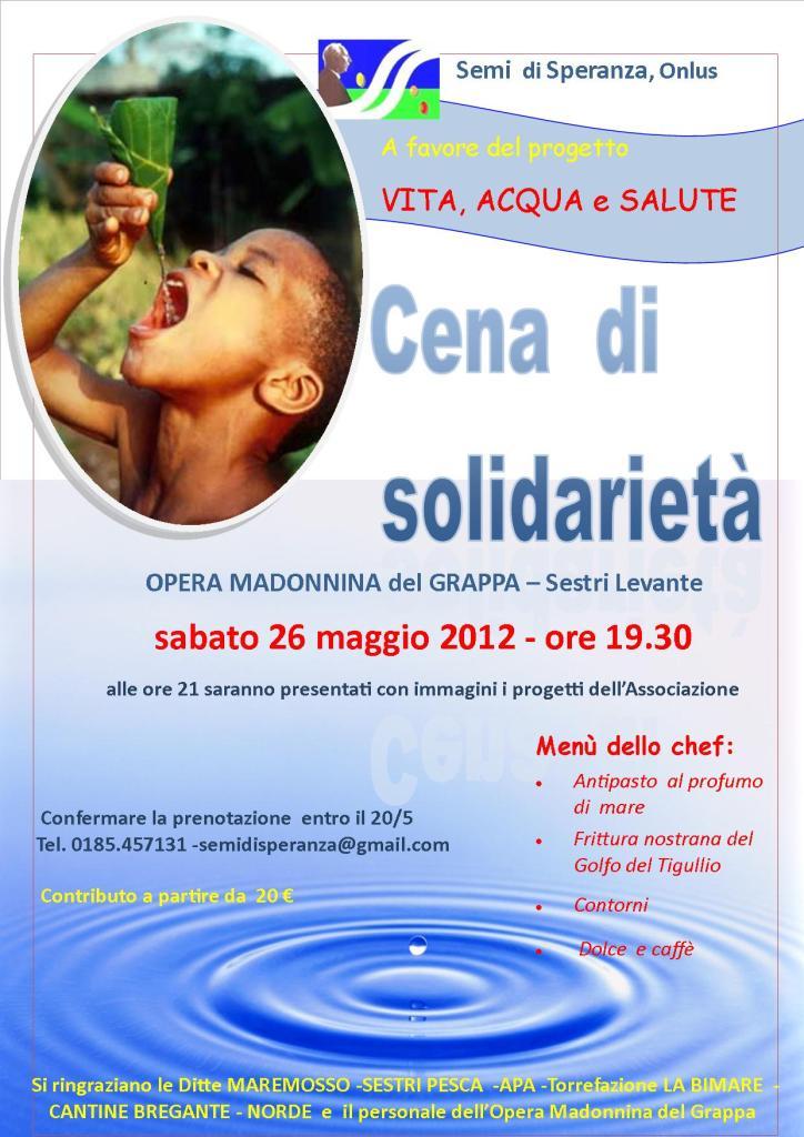 """24 maggio, Sestri LEvante: cena di solidarietà, insieme per dare """"acqua, vita e salute"""""""