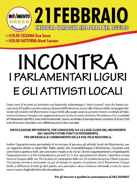 21 Febbraio, Cicagna e Gattorna: MOVIMENTO 5 STELLE, incontro conviviale con i parlamentari liguri e gli attivisti locali