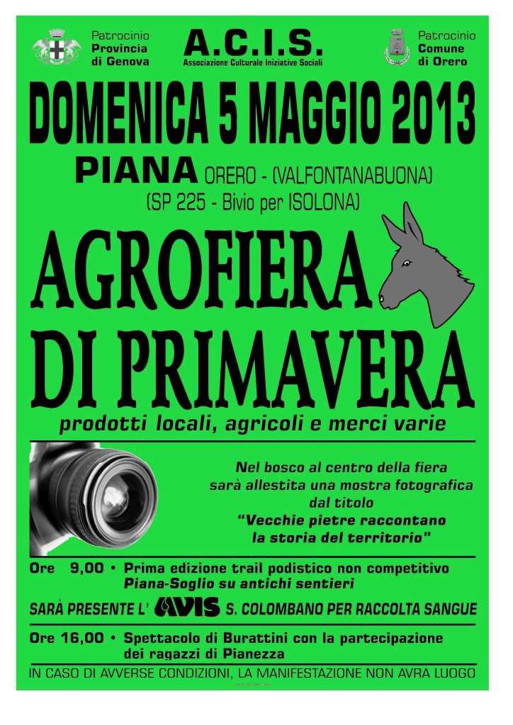 5 maggio, Orero: ritorna l'Agrofiera di Primavera, con prodotti locali, agricoli e merci varie e spettacolo di burattini, marcia non competitiva e mostre