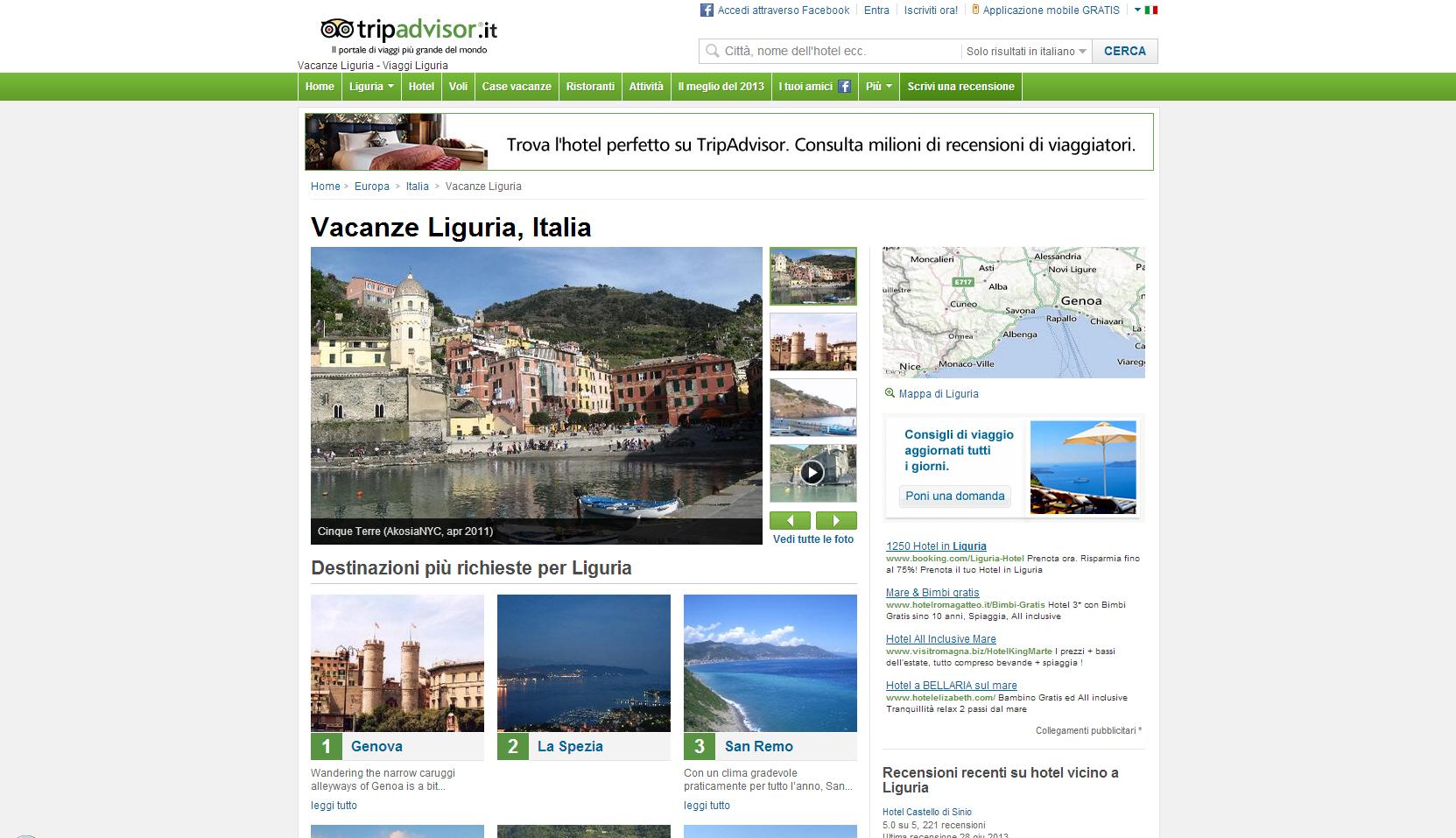Vengo, visito e commento: com'è visto il Levante dai turisti. Sul più importante sito di viaggi al mondo non mancano le sorprese