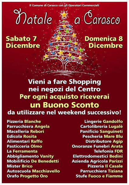 """7 e 8 dicembre, Carasco: """"Natale a Carasco"""" acquistando nei negozi ricevi un buono sconto per quelli successivi"""