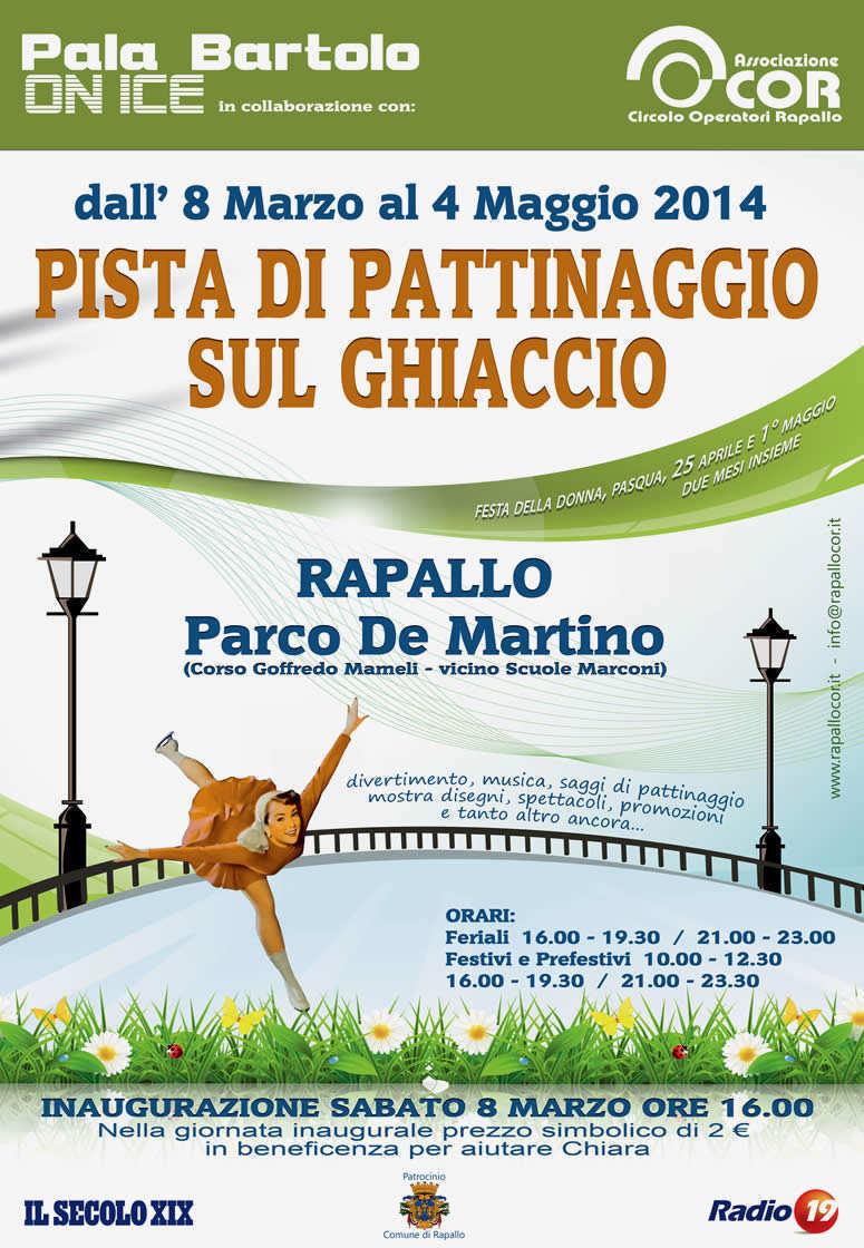 8 marzo, Rapallo: inaugurazione pista di pattinaggio con clown e campioni. La pista ha anche un fine sociale, aiutare Chiara una ragazza tetraplegica