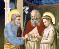 """L'anello come pegno d'amore coniugale è protagonista dell'eccezionale """"Sposalizio della Vergine"""" affrescato dal sommo Giotto (1305 circa) nella Cappella degli Scrovegni a Padova. Qui un particolare."""