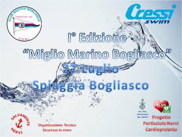 27 Luglio, Bogliasco: 1° Miglio Marino Bogliasco, manifestazione Pubblica e Gare di nuoto in mare Amatoriale