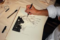 Stefano Biglia mentre disegna TEX