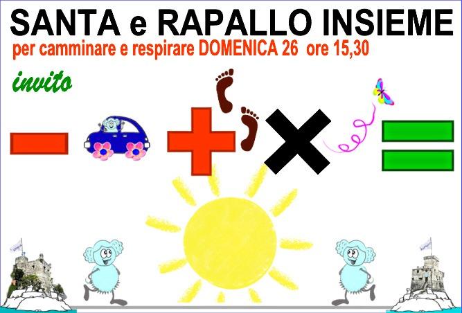 """Domenica 26 ottobre: a Rapallo e Santa tutti in strada a """"CAMMINARE e RESPIRARE INSIEME"""""""