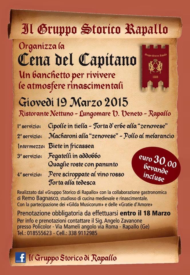 19 Marzo, Rapallo: Cena del Capitano con menù e ambientazione rinascimentale