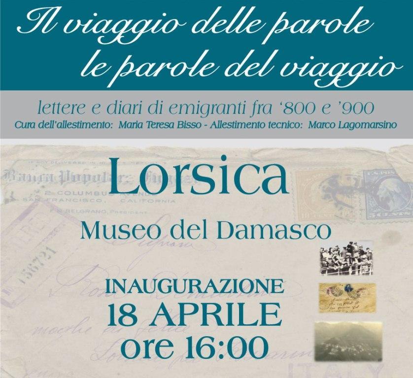 """18 aprile, Lorsica: Mostra """"IL VIAGGIO DELLE PAROLE LE PAROLE DEL VIAGGIO"""", lettere e diari di emigranti fra l'800 e il '900"""