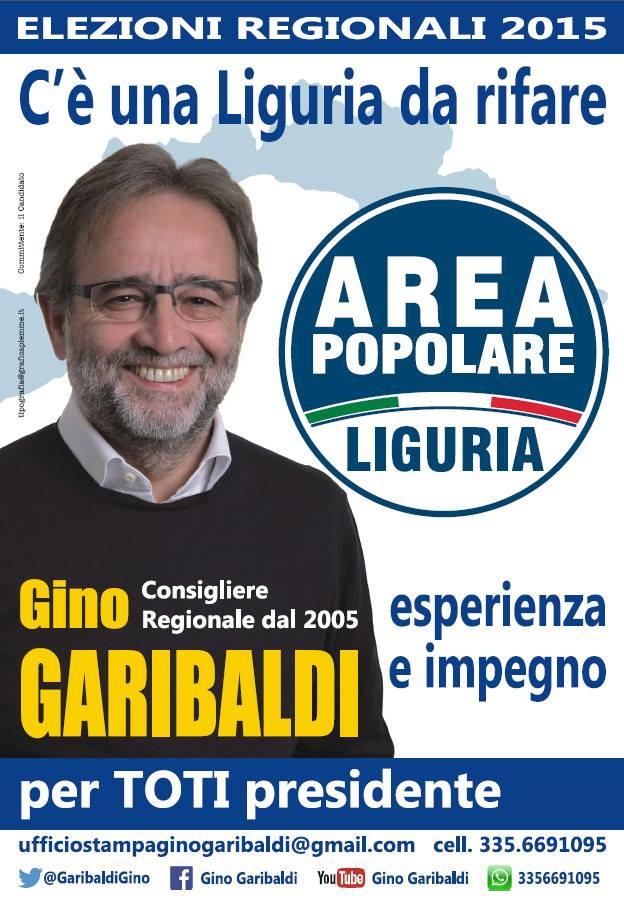 28 maggio: ELEZIONI  REGIONALI  LIGURIA Agenda del candidato Capolista  di Area Popolare Liguria  Gino Garibaldi