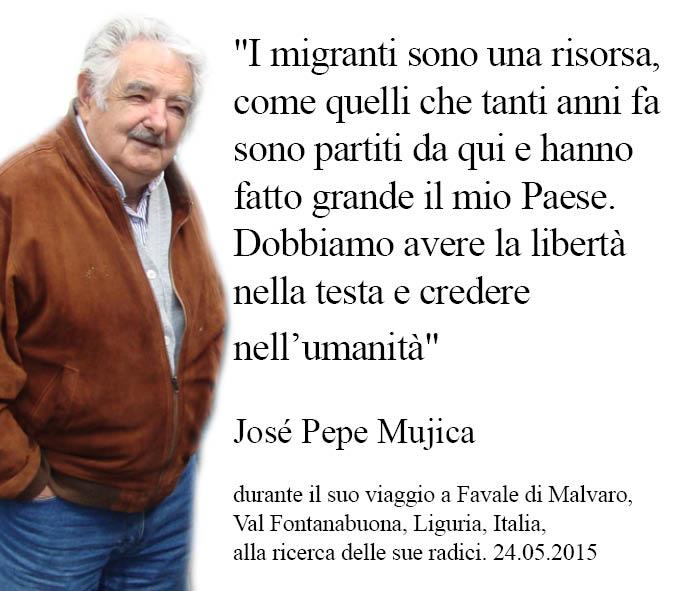"""Mujica a Favale - """"I migranti sono una risorsa, come quelli che tanti anni fa sono partiti da qui e hanno fatto grande il mio Paese, l'Uruguay"""""""