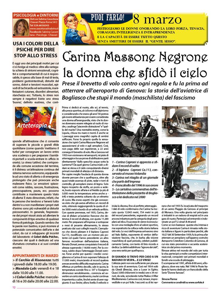 Carina Massone Negrone: la donna che conquistò il cielo. La storia dell'aviatrice di Bogliasco che sfidò il mondo (maschilista) del fascismo