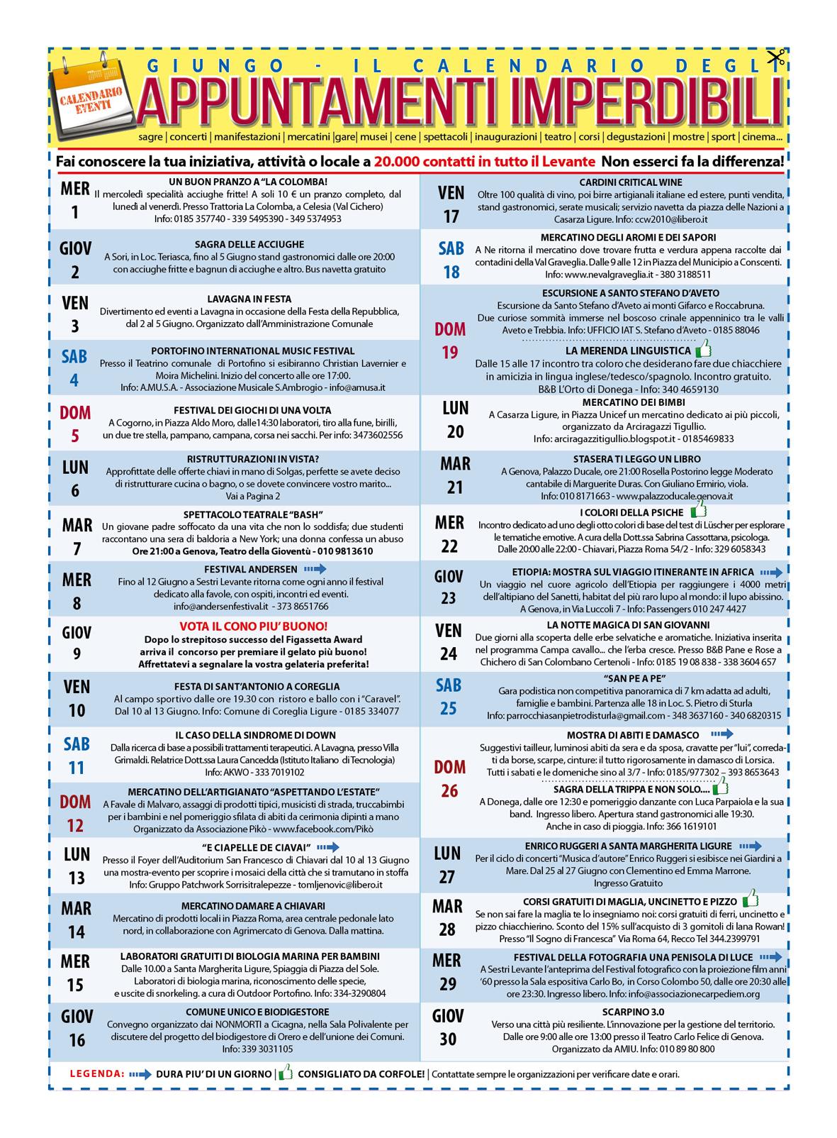 GIUGNO - Il calendario degli eventi imperdibili del Levante e non solo! Sagre, mercatini, concerti, spettacoli, teatro, mostre, corsi e molto altro