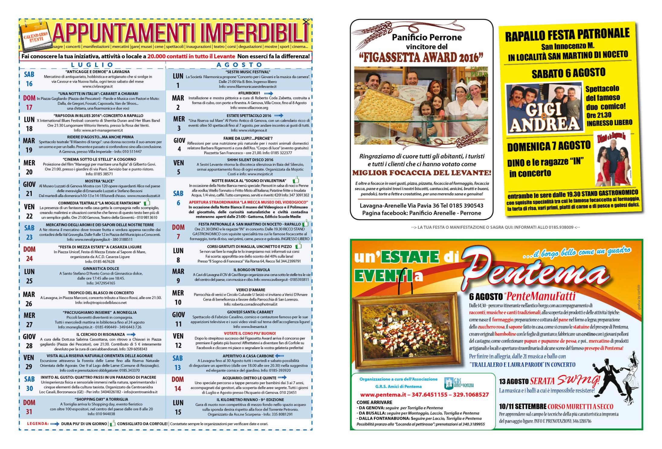 LUGLIO - AGOSTO - Il calendario degli eventi imperdibili del Levante e non solo! Sagre, mercatini, concerti, spettacoli, teatro, mostre, corsi e molto altro