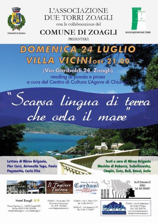 """24 luglio: """"Scarsa lingua di terra che orla il mare"""" a Zoagli serata poetica, tra letture e musica classica"""