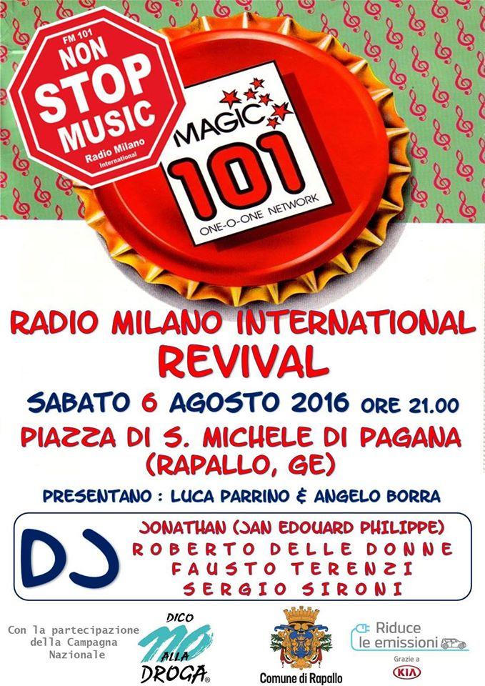 6 agosto, Rapallo - Serata revival RADIO MILANO INTERNATIONAL