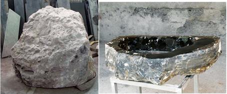 Un lavandino di 20 milioni di anni - Una famiglia di artigiani crea complementi unici, estraendoli dalle pietre, come la puddinga di Portofino, in cui si trovano anche dei fossili