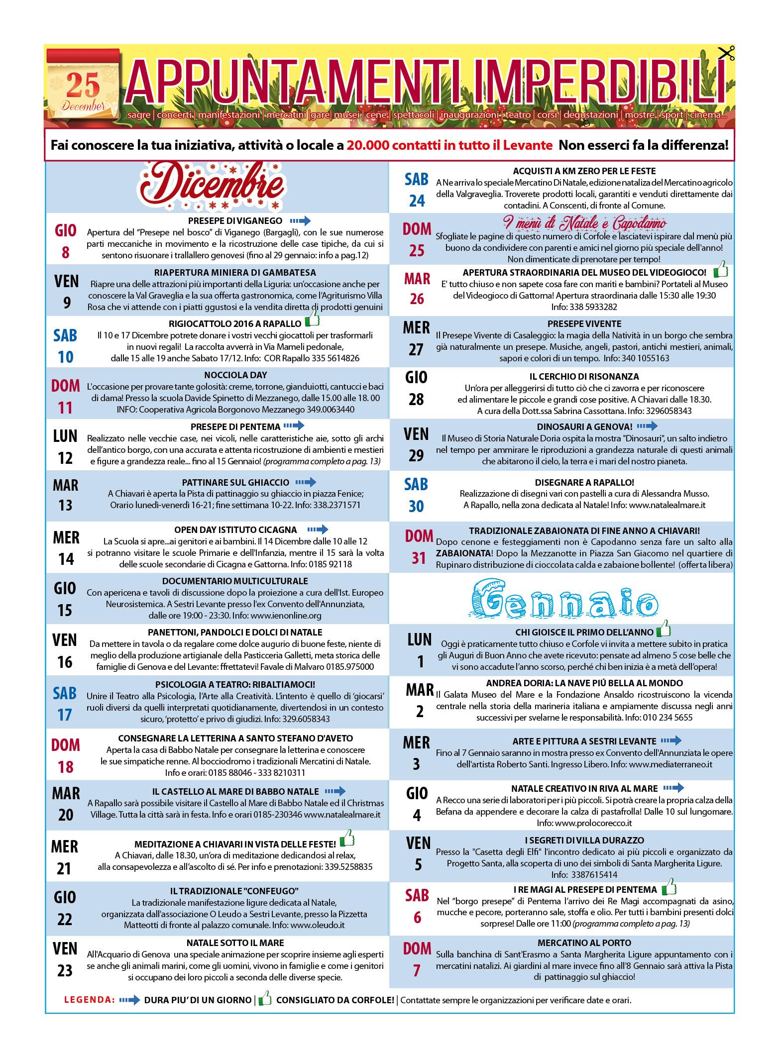 CALENDARIO EVENTI IMPERDIBILI DICEMBRE E GENNAIO! Sagre, mercatini, concerti, spettacoli, teatro, mostre, corsi e molto altro