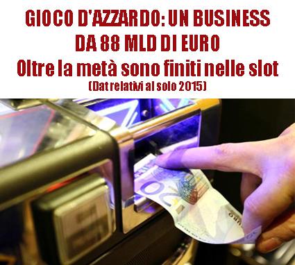 GIOCO D'AZZARDO: UN BUSINESS DA 88 MLD DI EURO. Questi i soldi che gli italiani si sono giocati nel solo 2015. Oltre la metà con le slot