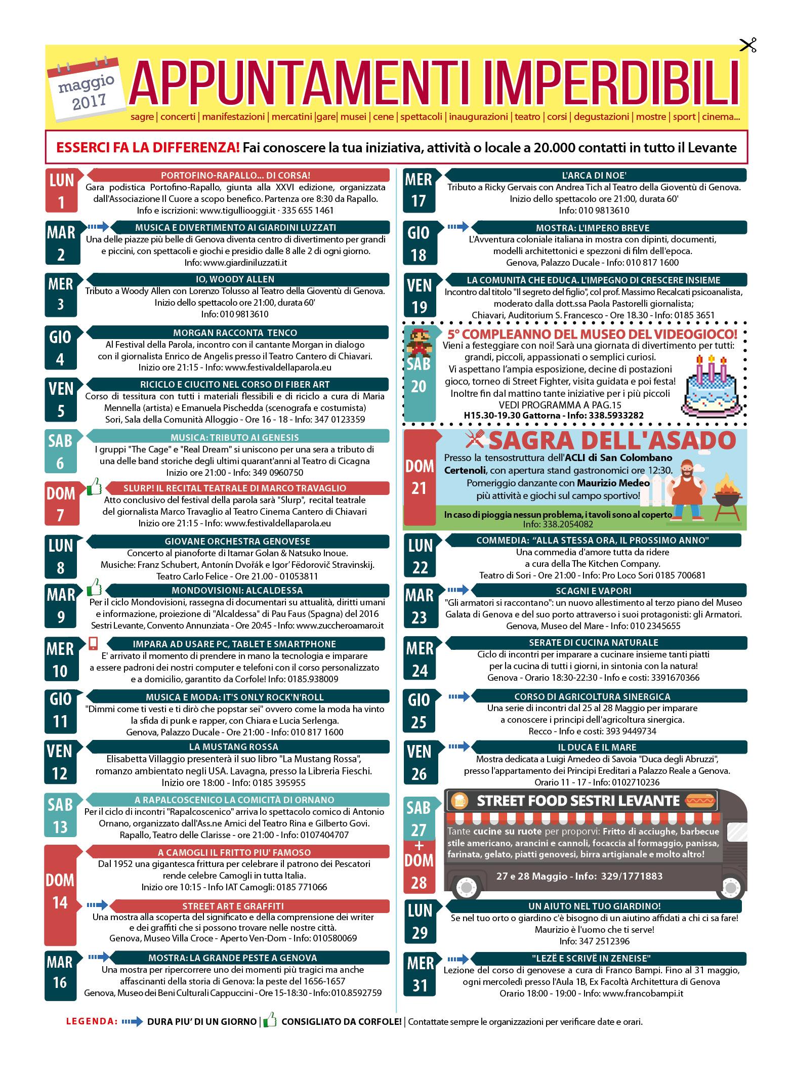 CALENDARIO EVENTI IMPERDIBILI MAGGIO 2017: Sagre, mercatini, concerti, spettacoli, teatro, mostre, corsi, ristoranti e molto altro