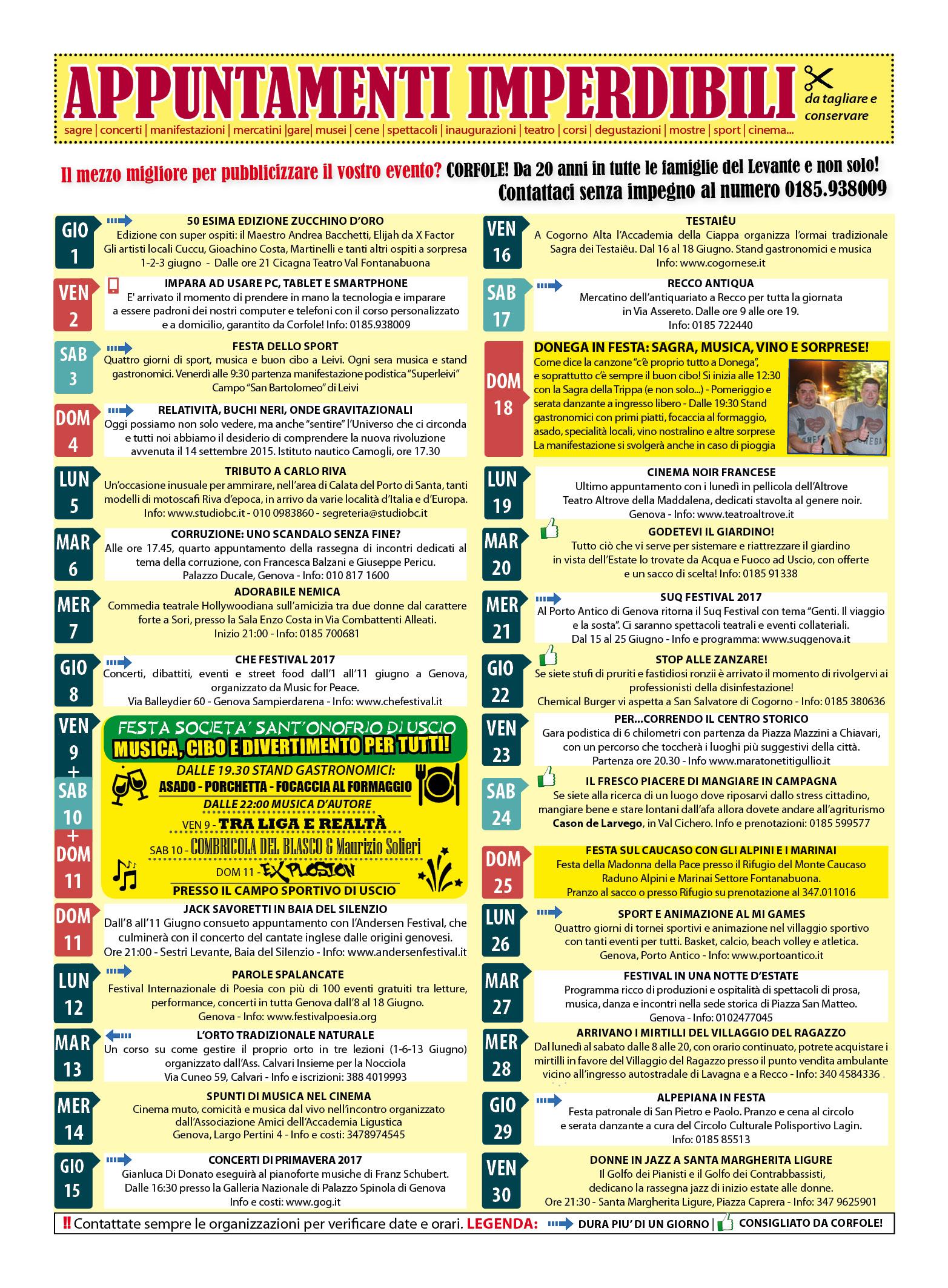 CALENDARIO EVENTI IMPERDIBILI GIUGNO: sagre, mercatini, concerti, spettacoli, teatro, mostre, corsi, ristoranti e molto altro