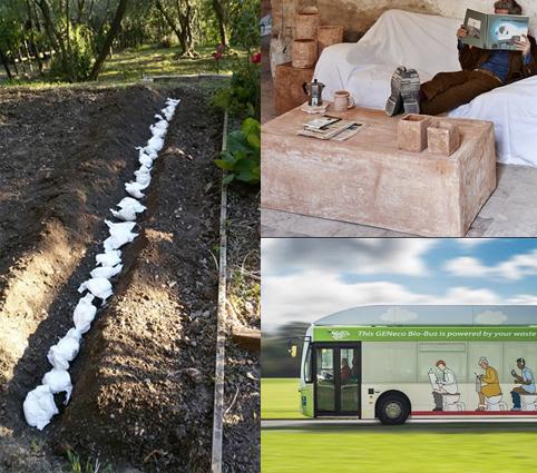 """Non chiamateli scarti: l'orto fertilizzato con la pupù del bebè, gli arredi fatti di sterco, il bus a """"metano umano"""" e l'impianto che trasforma le fogne in pregiato concime"""
