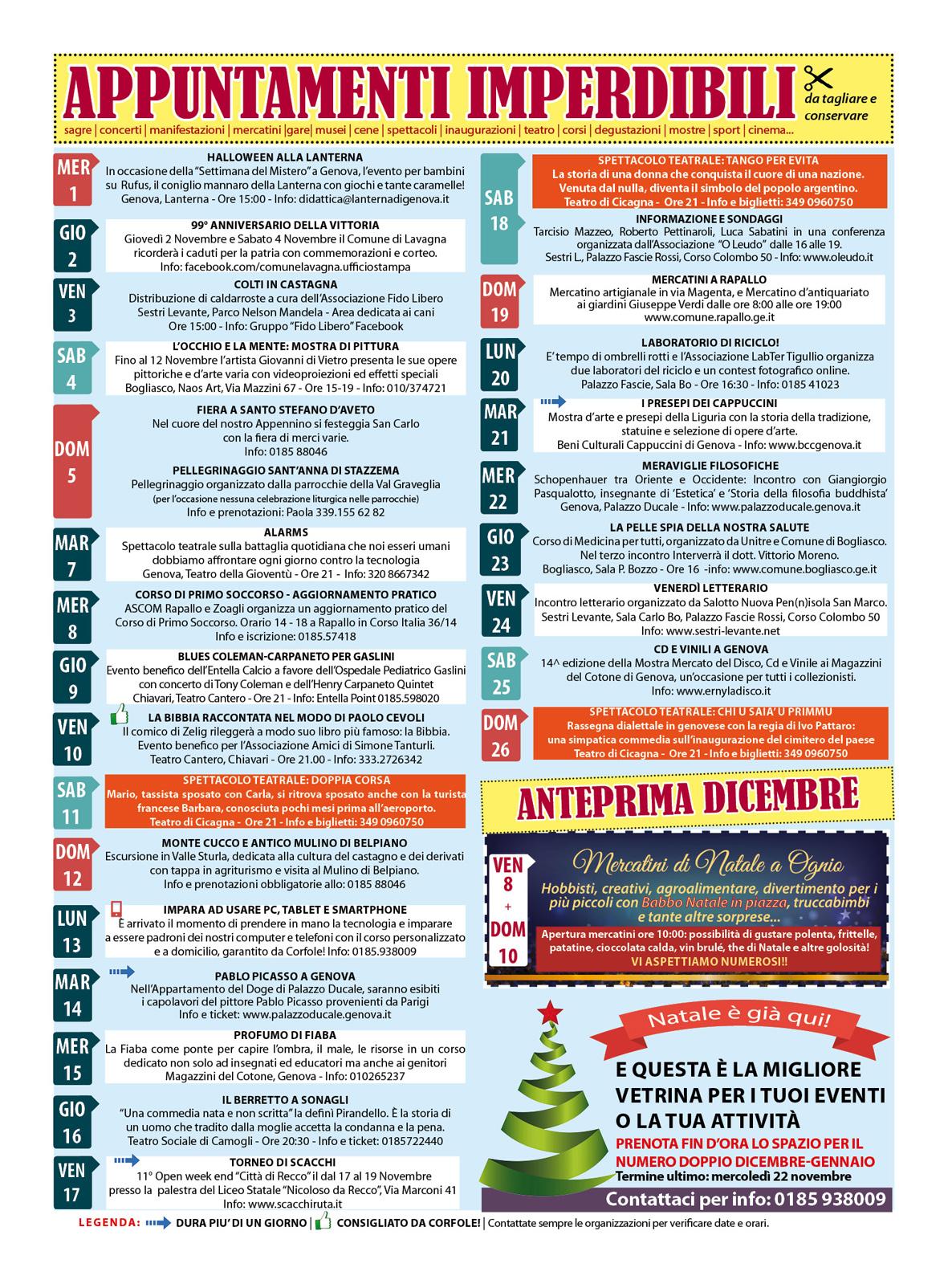 CALENDARIO EVENTI NOVEMBRE: sagre, mercatini, concerti, spettacoli, teatro, mostre, corsi, ristoranti e molto altro