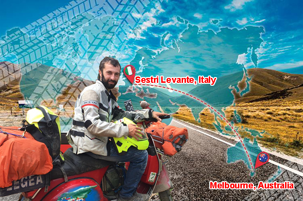 In Vespa dalla Liguria all'Australia per rivedere un amico: l'incredibile avventura del sestrese Fabio Salini
