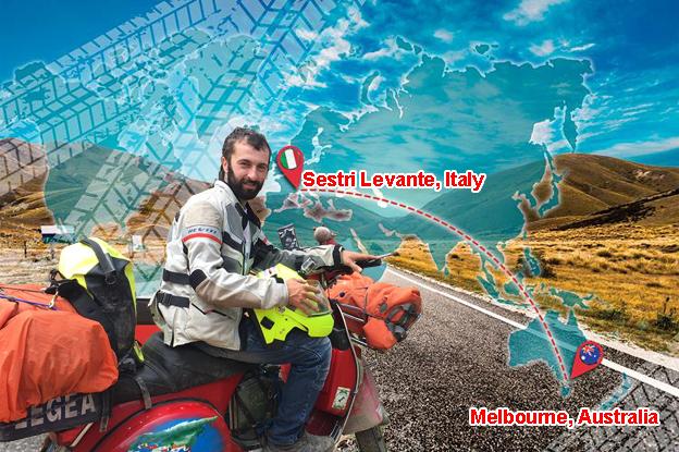 In Vespa dalla Liguria all'Australia per rivedere un amico: l'incredibile avventura del sestrese Fabio Salini