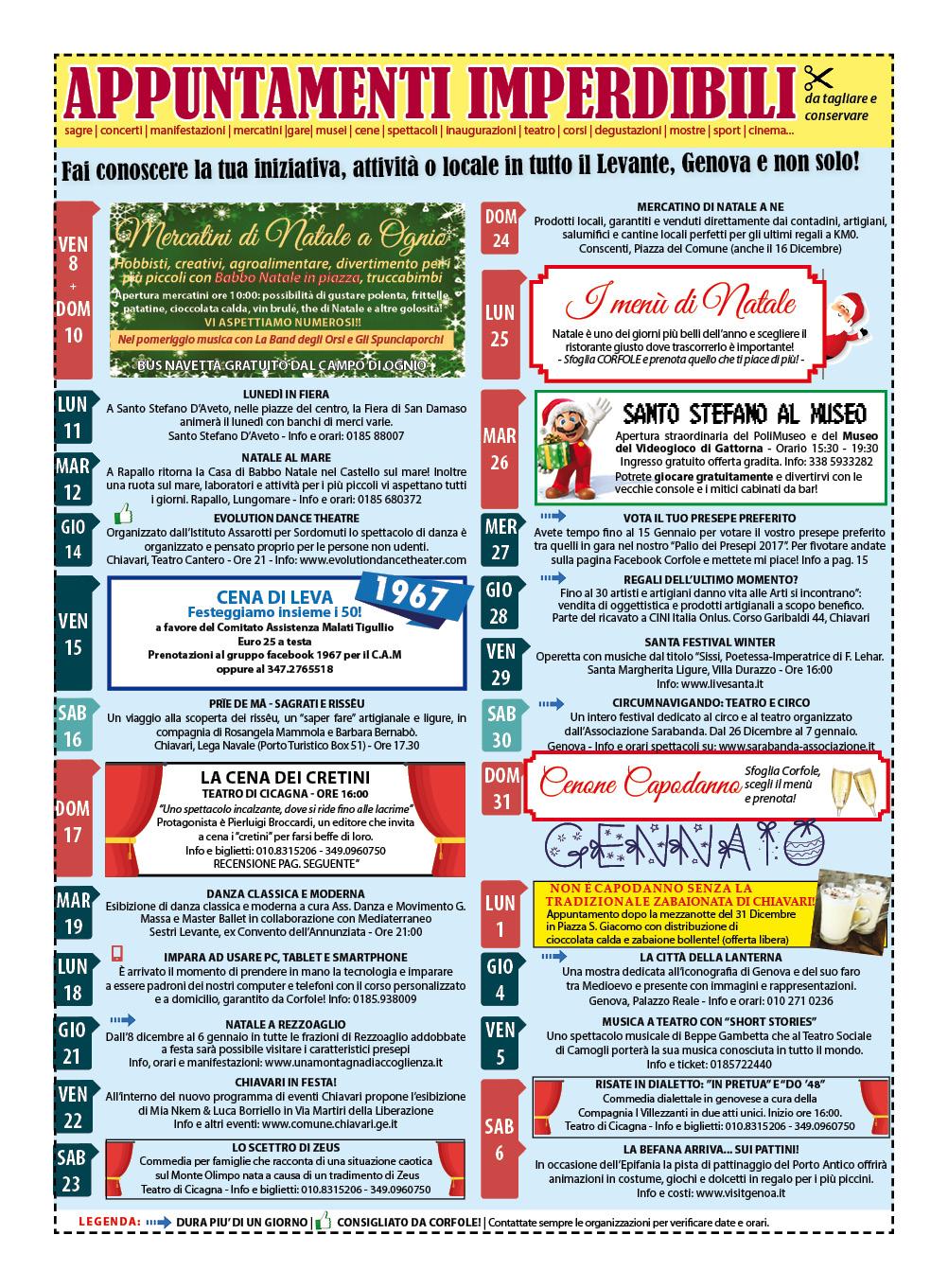 CALENDARIO EVENTI DICEMBRE-GENNAIO: sagre, mercatini, concerti, spettacoli, teatro, mostre, corsi, ristoranti e molto altro