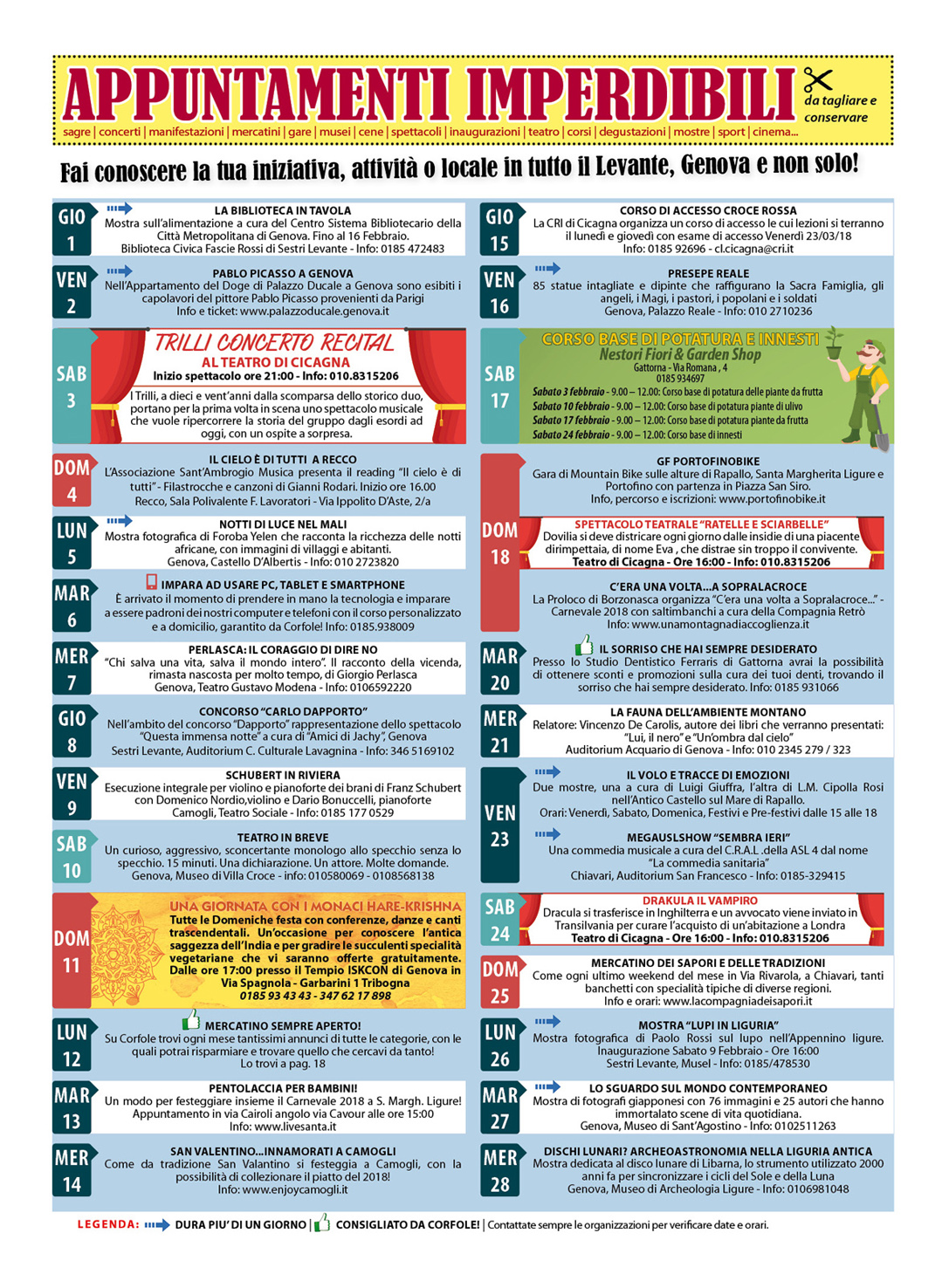 CALENDARIO EVENTI FEBBRAIO: sagre, mercatini, concerti, spettacoli, teatro, mostre, corsi, ristoranti e molto altro