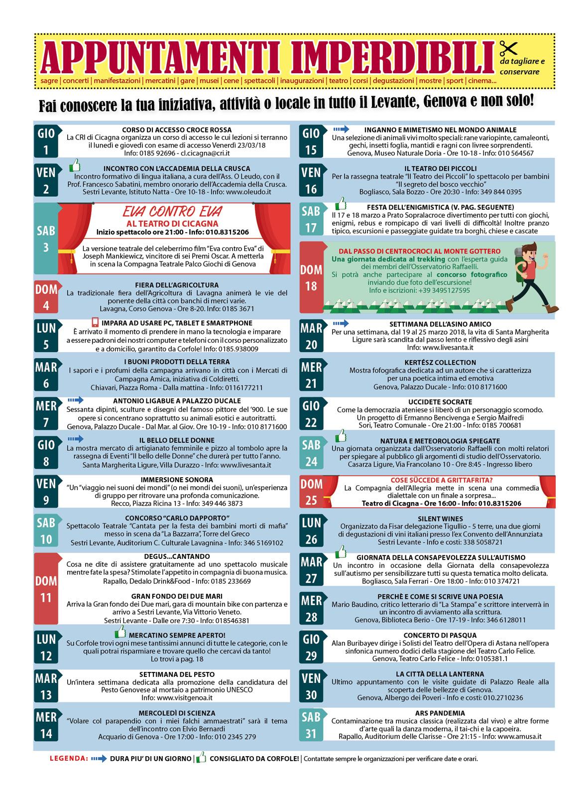 CALENDARIO EVENTI MARZO: sagre, mercatini, concerti, spettacoli, teatro, mostre, corsi, ristoranti e molto altro