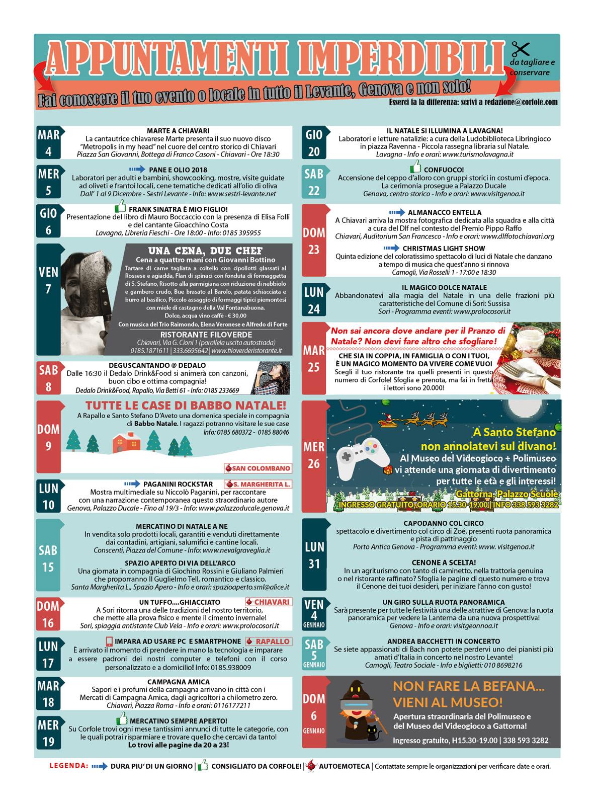 CALENDARIO EVENTI IMPERDIBILI DICEMBRE E FESTIVITA'